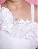 A Line Princess Long Floor Length Flower Girl Dress Organza Sleeveless Straps With Bow Flower Sash Ribbon