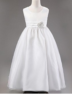 Ball Gown Ankle Length Flower Girl Dress Organza Sleeveless Jewel With Flower