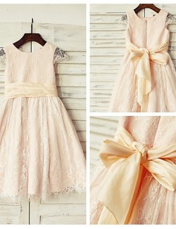 A Line Short Knee Length Flower Girl Dress Lace Short Sleeve Scoop With