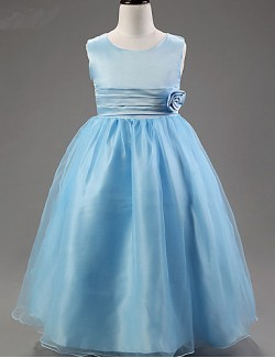 A Line Ankle Length Flower Girl Dress Satin Tulle Polyester Sleeveless Scoop With
