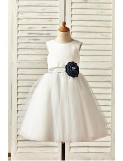 A Line Short Knee Length Flower Girl Dress Satin Tulle Sleeveless Scoop With
