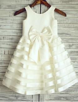 Princess Short Knee Length Flower Girl Dress Satin Tulle Sleeveless Scoop With