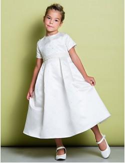 A Line Tea Length Flower Girl Dress Satin Short Sleeve Jewel With Beading
