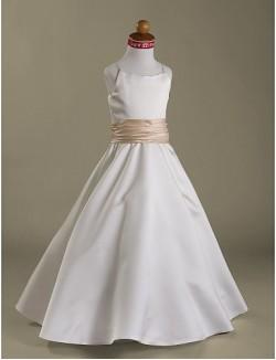 A Line Princess Long Floor Length Flower Girl Dress Satin Sleeveless Spaghetti Straps With Ruffles Ruching