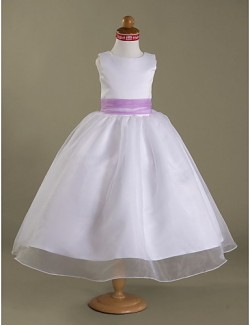 A Line Princess Tea Length Flower Girl Dress Organza Satin Sleeveless Square Straps WithBow Draping Sash