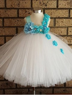 Ball Gown Ankle Length Flower Girl Dress Tulle Polyester Sleeveless Straps With