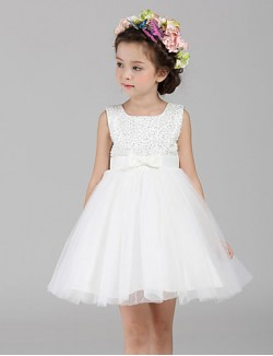 A Line Short Knee Length Flower Girl Dress Tulle Polyester Sleeveless Jewel With