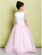 A Line Long Floor Length Flower Girl Dress Organza Satin Sleeveless Scoop With Flower