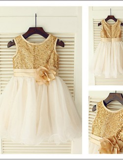 A Line Tea Length Flower Girl Dress Tulle Sequined Sleeveless Jewel With