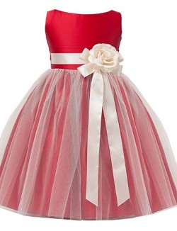 A Line Tea Length Flower Girl Dress Satin Tulle Sleeveless Jewel With Flower Sash Ribbon