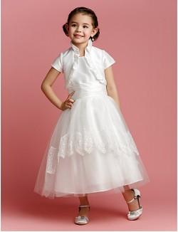 A Line Princess Tea Length Flower Girl Dress Taffeta Tulle Short Sleeve Jewel With Lace Ruching