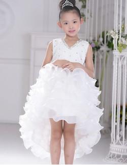 Ball Gown Asymmetrical Flower Girl Dress Organza Sleeveless V Neck With
