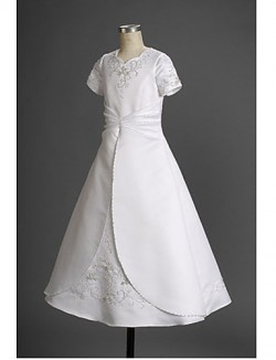 A Line Princess Long Floor Length Flower Girl Dress Satin Sleeveless Square With Appliques Beading Ruffles Side Draping