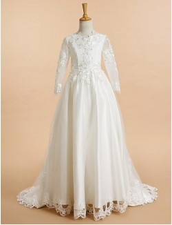 A Line Sweep Brush Train Flower Girl Dress Lace Tulle Long Sleeve V Neck With Appliques