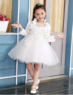 Ball Gown Short Knee Length Flower Girl Dress Cotton Satin Tulle 3 4 Length Sleeve Jewel With Appliques Flower