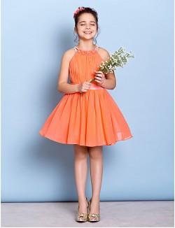 Short Knee Length Chiffon Junior Bridesmaid Dress A Line Jewel With Beading Draping Sash Ribbon
