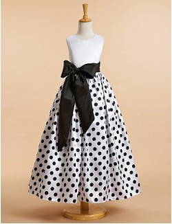 A Line Ankle Length Flower Girl Dress Satin Sleeveless Scoop With Pattern Print