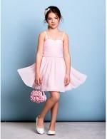 Short Knee Length Chiffon Junior Bridesmaid Dress A Line Spaghetti Straps With Beading Ruching