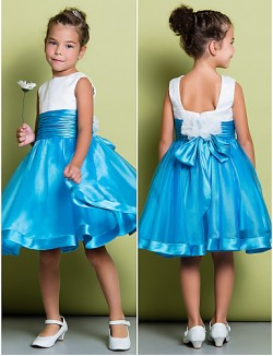 A Line Short Knee Length Flower Girl Dress Organza Satin Sleeveless Square With Ruching