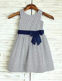 A Line Short Knee Length Flower Girl Dress Cotton Sleeveless Scoop With
