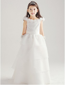 A Line Long Floor Length Flower Girl Dress Cotton Organza Sleeveless Off The Shoulder With