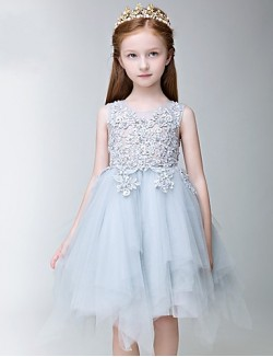 A Line Short Knee Length Flower Girl Dress Tulle Sleeveless Jewel With Appliques Lace