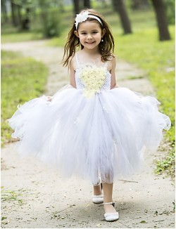 Ball Gown Tea Length Flower Girl Dress Rayon Spaghetti Straps With Appliques