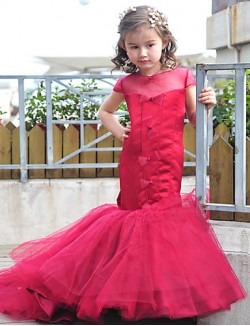 Trumpet Mermaid Court Train Flower Girl Dress Tulle Charmeuse Short Sleeve Jewel With Bow Buttons
