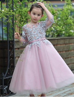 Ball Gown Ankle Length Flower Girl Dress Lace Tulle 3 4 Length Sleeve Jewel With Beading Sash Ribbon