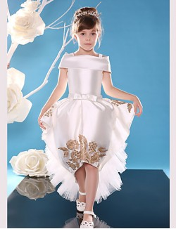 Ball Gown Asymmetrical Flower Girl Dress Lace Satin Sleeveless Off The Shoulder With Lace Sash Ribbon