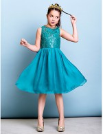 Short Knee Length Chiffon Sequined Junior Bridesmaid Dress A Line Jewel With Sequins