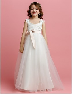 A Line Long Floor Length Flower Girl Dress Tulle Sleeveless Straps With Bow Lace Sash Ribbon