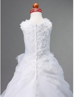 Ball Gown Court Train Flower Girl Dress Organza Satin Sleeveless Jewel With Beading Flower Pick Up Skirt