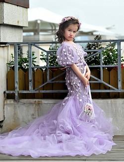 Princess Sweep Brush Train Flower Girl Dress Lace Tulle Short Sleeve Jewel With Beading Flower