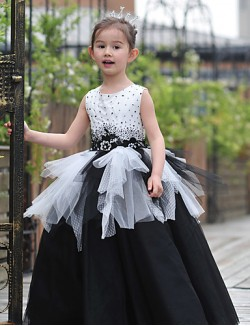 Ball Gown Long Floor Length Flower Girl Dress Tulle Charmeuse Sleeveless Jewel With Beading Lace