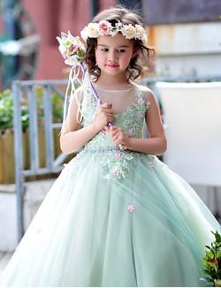 Ball Gown Long Floor Length Flower Girl Dress Tulle Charmeuse Sleeveless Jewel With Beading Flower Lace