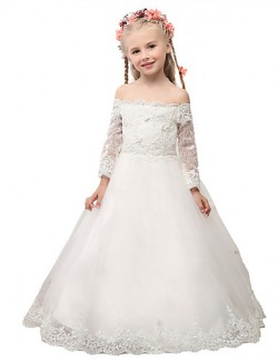 Ball Gown Long Floor Length Flower Girl Dress Lace 3 4 Length Sleeve Off The Shoulder With Appliques Lace