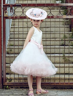 Ball Gown Short Knee Length Flower Girl Dress Tulle Stretch Satin Sleeveless Jewel With Sash Ribbon