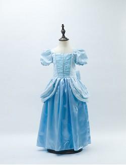 Ball Gown Long Floor Length Flower Girl Dress Satin Stretch Satin Short Sleeve Jewel With