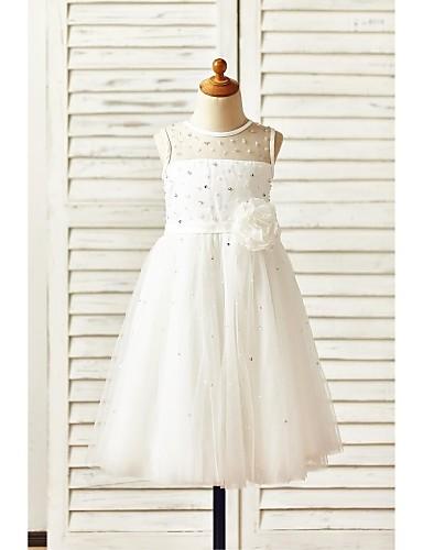 A Line Tea Length Flower Girl Dress Tulle Sleeveless Jewel With
