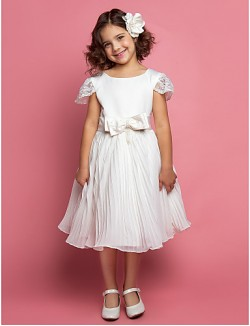 A Line Ball Gown Princess Short Knee Length Flower Girl Dress Chiffon Lace Satin Tulle Short Sleeve With Bow Sash Ribbon