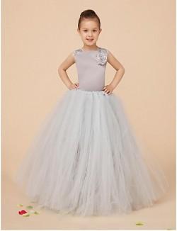 Ball Gown Long Floor Length Flower Girl Dress Satin Tulle Sleeveless Square With
