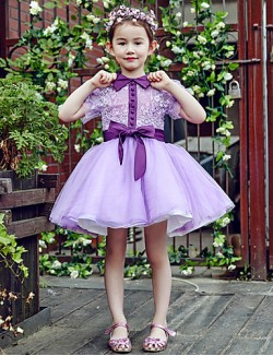 Ball Gown Short Mini Flower Girl Dress Lace Tulle Short Sleeve High Neck With Buttons Flower Sash Ribbon