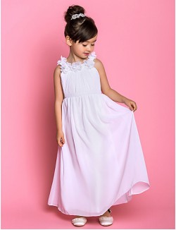 A Line Ankle Length Flower Girl Dress Chiffon Sleeveless Scoop With Bow Flower Side Draping
