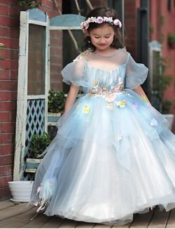 Ball Gown Long Floor Length Flower Girl Dress Tulle Stretch Satin Short Sleeve Jewel With Beading Flower