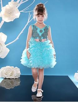 Ball Gown Short Knee Length Flower Girl Dress Lace Tulle Sleeveless V Neck With Beading Sash Ribbon Sequins