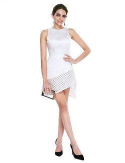 New Zealand Cocktail Party Dress A Line Jewel Short Mini Satin With Lace
