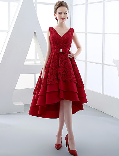 New Zealand Cocktail Party Dress Ball Gown V Neck Asymmetrical Lace Satin With Bow Lace Sash Ribbon