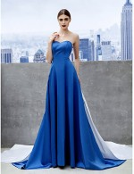 New Zealand Formal Evening Dress A Line Sweetheart Chapel Train Satin With