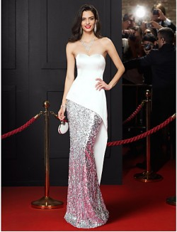 New Zealand Formal Evening Dress Trumpet Mermaid Sweetheart Long Floor Length Satin Sequined With Sequins